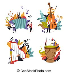 vrijstaand, muziek instrumenten, muzikalisch, folk-music, ...