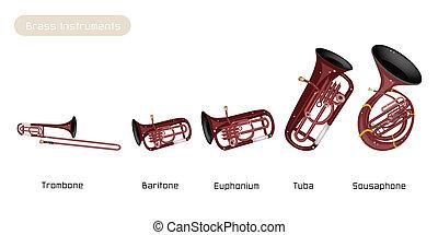 vrijstaand, muzikaal instrument, vijf, achtergrond, messing, witte