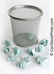 vrijstaand, op, papier, afval, witte