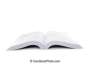 vrijstaand, opengeslagen boek