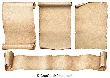 vrijstaand, oud, papier, set, rollen, witte