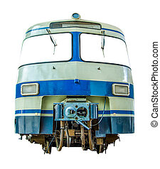vrijstaand, ouderwetse , diesel, trein