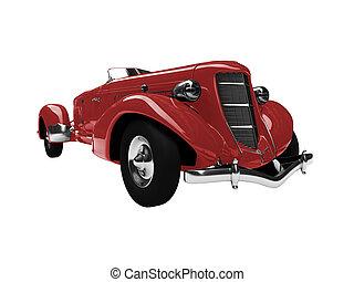 vrijstaand, ouderwetse , rode auto, vooraanzicht
