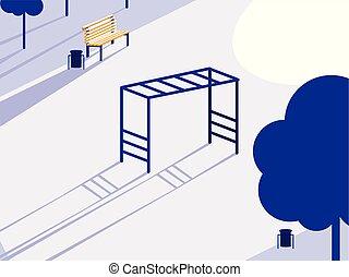 vrijstaand, park, speelplaats, pictogram