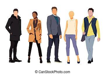vrijstaand, plat, ontwerp, illustraties, zakelijk, groep, mensen., mannen, vrouwen