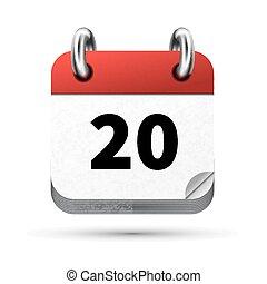 vrijstaand, realistisch, helder, datum, witte , kalender, 20, pictogram