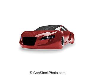 vrijstaand, rood, fantastisch, auto, vooraanzicht, 01