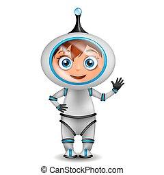 vrijstaand, schattig, staand, spotprent, ruimtevaarder