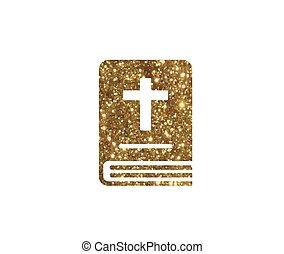 vrijstaand, schitteren, gouden, heilige bijbel, boek, pictogram