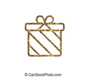 vrijstaand, schitteren, gouden, vakantie, giftdoos, pictogram