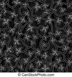 vrijstaand, seamless, oosters, achtergrond, floral, black