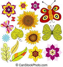 vrijstaand, set, bloemen, vlinder, decoratief