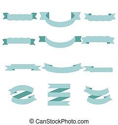 vrijstaand, set, pastel, lint, blauwe , witte achtergrond, illustratie, vector
