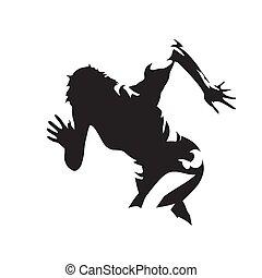 vrijstaand, silhouette., bovenkant, rennende , abstract, uitvoeren, vector, logo, aanzicht, vrouw