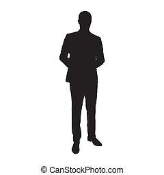 vrijstaand, silhouette., vector, kostuum, zakenman, man