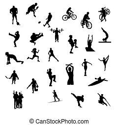 vrijstaand, sporten, silhouettes