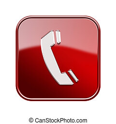 vrijstaand, telefoon, glanzend, achtergrond, wit rood, pictogram