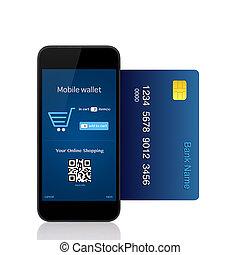 vrijstaand, telefoon, maakt, online aankoop, met, kredietkaart