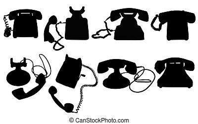 vrijstaand, telefoon, silhouettes