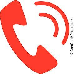 vrijstaand, telefoon, vector, achtergrond, witte , pictogram