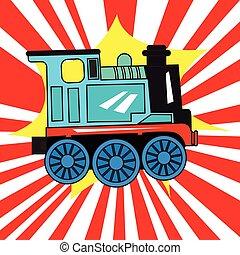 vrijstaand, trein, speelbal
