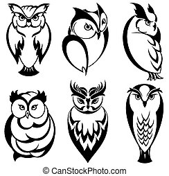 vrijstaand, uil, vogels, in, tatoeëren, stijl