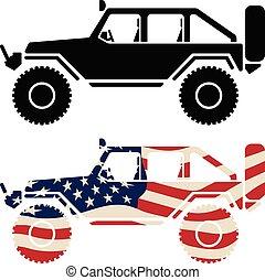 vrijstaand, usa, straat, vlag, black , illustratie, vector, van, voertuig, 4x4