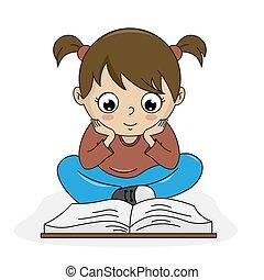 vrijstaand, vector, book., lezende , meisje
