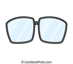 vrijstaand, vector, ontwerp, witte , spotprent, bril