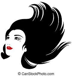 vrijstaand, vector, vrouw, met, vloeiende haren, silhouette