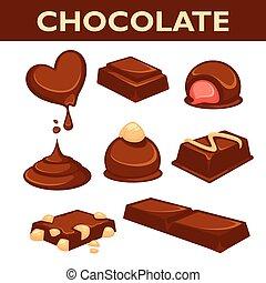 vrijstaand, versuikeren, chocolade, vector, verzameling, ...
