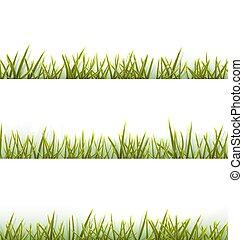 vrijstaand, verzameling, realistisch, groen wit, gras