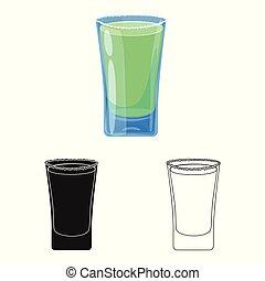 vrijstaand, voorwerp, van, glas, en, water, symbool., set, van, glas, en, duidelijk, vector, pictogram, voor, stock.