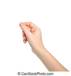vrijstaand, vrouw, hand houdend, een, voorwerp