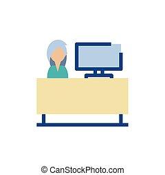 vrijstaand, vrouw, vector, receptionist, ontwerp