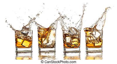 vrijstaand, whisky, gespetter, achtergrond, witte , bril