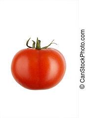 vrijstaand, xxl., achtergrond, fris, tomaat, witte , tomato., rood