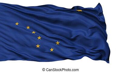 vrijstaand, zwaaiende , nationale vlag, van, alaska
