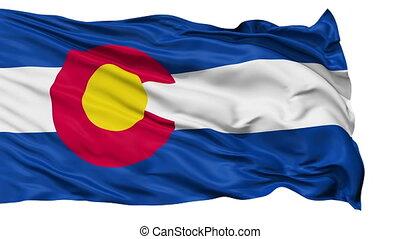 vrijstaand, zwaaiende , nationale vlag, van, colorado