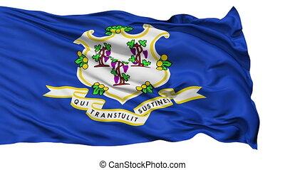 vrijstaand, zwaaiende , nationale vlag, van, connecticut