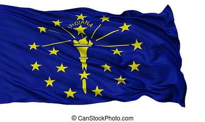 vrijstaand, zwaaiende , nationale vlag, van, indiana