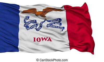 vrijstaand, zwaaiende , nationale vlag, van, iowa