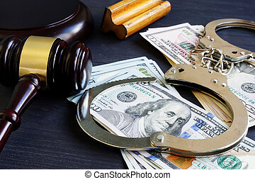 vrijwaring, bond., corruption., gavel, handcuffs, en, geld.