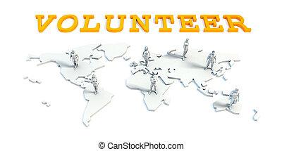 vrijwilliger, concept, met, handel team
