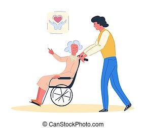 vrijwilliger, gehandicapte vrouw, bejaarden, vector.