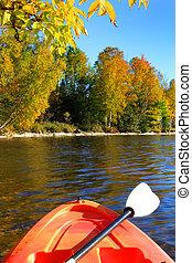 vroeg, kayaking, herfst