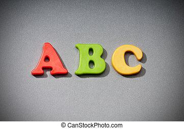 vroeg onderwijs, concept, met, brieven