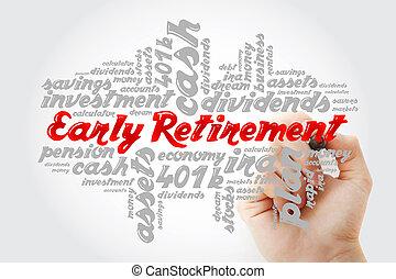 vroeg, teken, pensioen, hand het schrijven