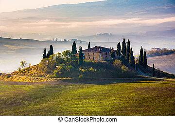 vroeg, tuscany, morgen