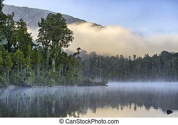 vroege morgen, mist, op, meer, kaniere